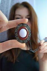 Beautiful leather pendant with natural stone! by valentinnikolaevich