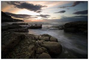 Thornwick Bay At Sunset by didjerama