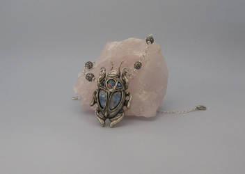 Silver Scarab with Faux Opals by BringBackTheDodo