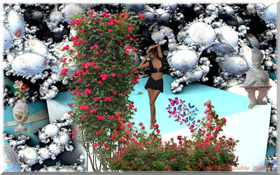 Lady in a fantasy fractal garden by cristy120377