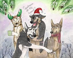 Happy Holidays from the boys! by Huskypawz