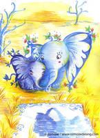 Elephants floral by Ozmoze-Land