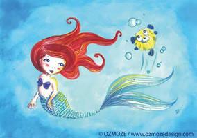 princess disney Ariel and dog by Ozmoze-Land
