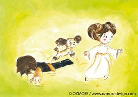 Starwars leia and dog (serie) by Ozmoze-Land