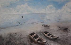 Boats on the beach II by Gjortler