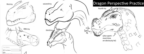 Dragon Head Perspective Practice by Blocko-maniac