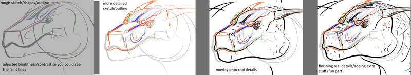 My process for drawing dragon heads by Blocko-maniac