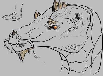 Halloween dragon head/foot practice by Blocko-maniac