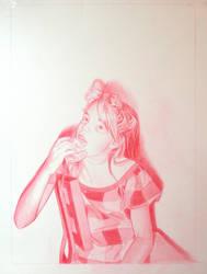 Girl eating bagel in Florida by mercedes-helnwein