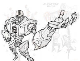 WIP Cover Design Robot for Alcatraz High by BobbyRubio