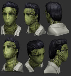 3D Reptilian-Humanoid Bust by Athey