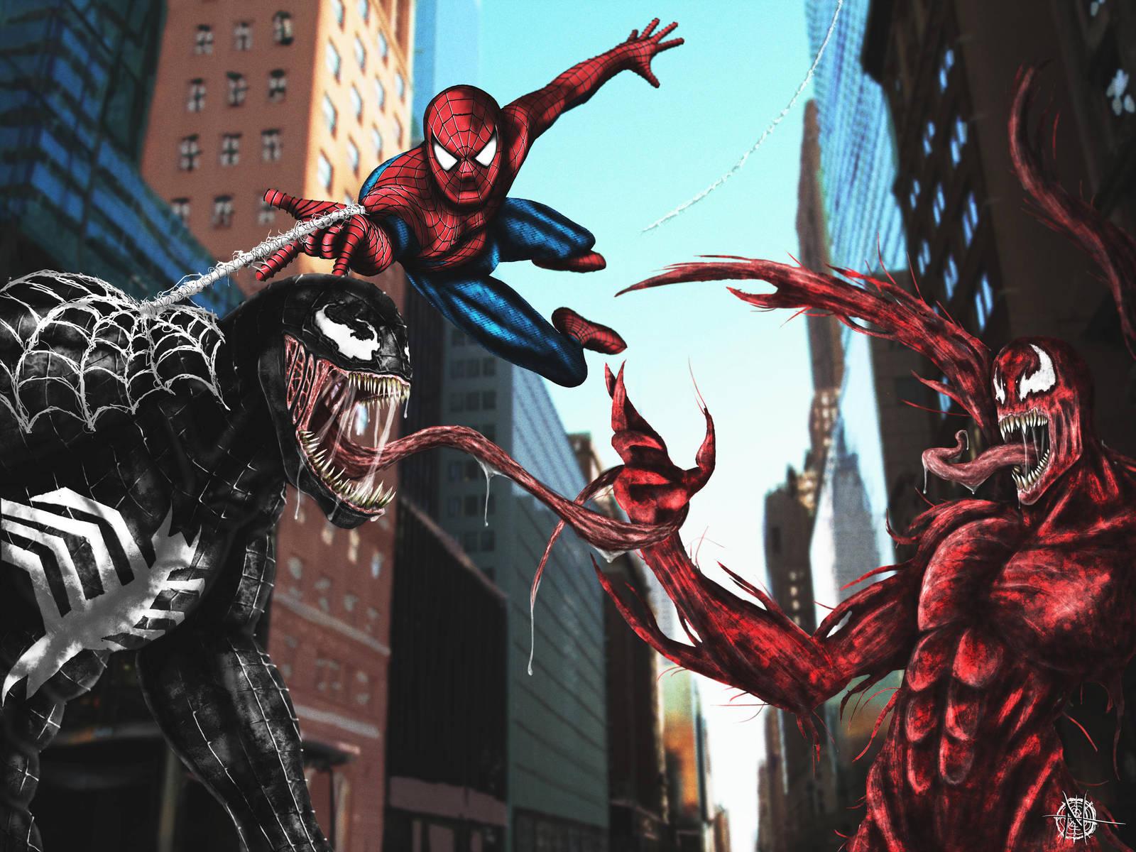 spiderman vs. venom vs. carnage.ezekiel47 on deviantart