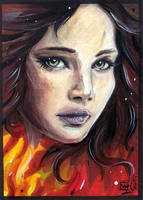 ACEO 088 Girl on Fire / The Hunger Games by WojikHell