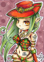 ACEO 106 Steampunk elven girl by WojikHell