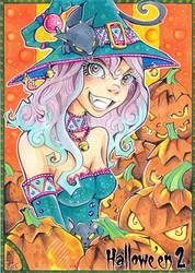 Hallowe'en 2 sketch card - Little Witch by WojikHell