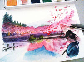 Japanese landscape WIP p.3 Ink and watercolors by Musiriam