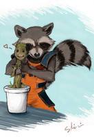 Rocket and baby Groot by Shinri-san