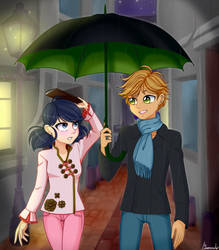 Adrien and Marinette in the Rain by linamomoko