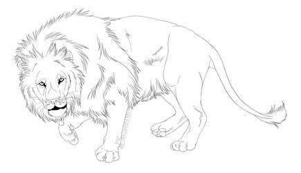 -Free Use- Lion Lineart by Kalenka