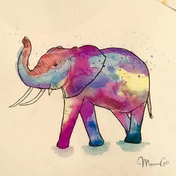 Watercolor Elephant by marciacocco
