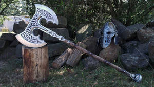 Skyrim Steel Battleaxe Prop Replica by TheAnti-Lily