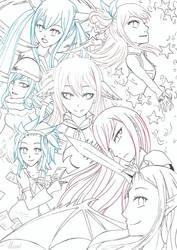 The Fairy (Tail) Girls ~ lineart by Kirichii-Art