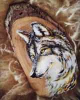 Wolf - Wood Slice Acrylic Painting by devilguineapig