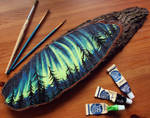 Aurora Borealis - Wood Slice Acrylic Painting by devilguineapig