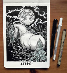 Inktober 2018 Day 1: Kelpie by devilguineapig