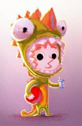 Dino kid chalk version by AdanFlores