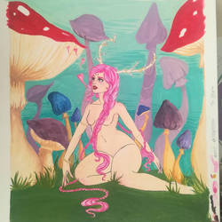 Fawn girl and the forest of Fungi by Atomicbellyroll