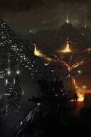 Fire pyramids city by Dekus