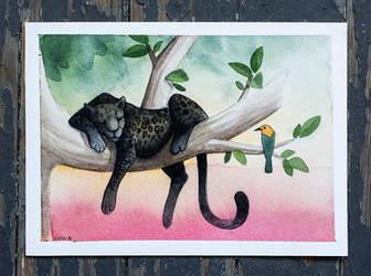 Black Jaguar Resting by fiachmara