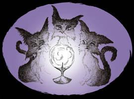 Three wicked witch-cats by fuchskauz