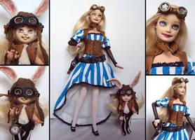 Steampunk in Wonderland - Alice and her rabbit by fuchskauz