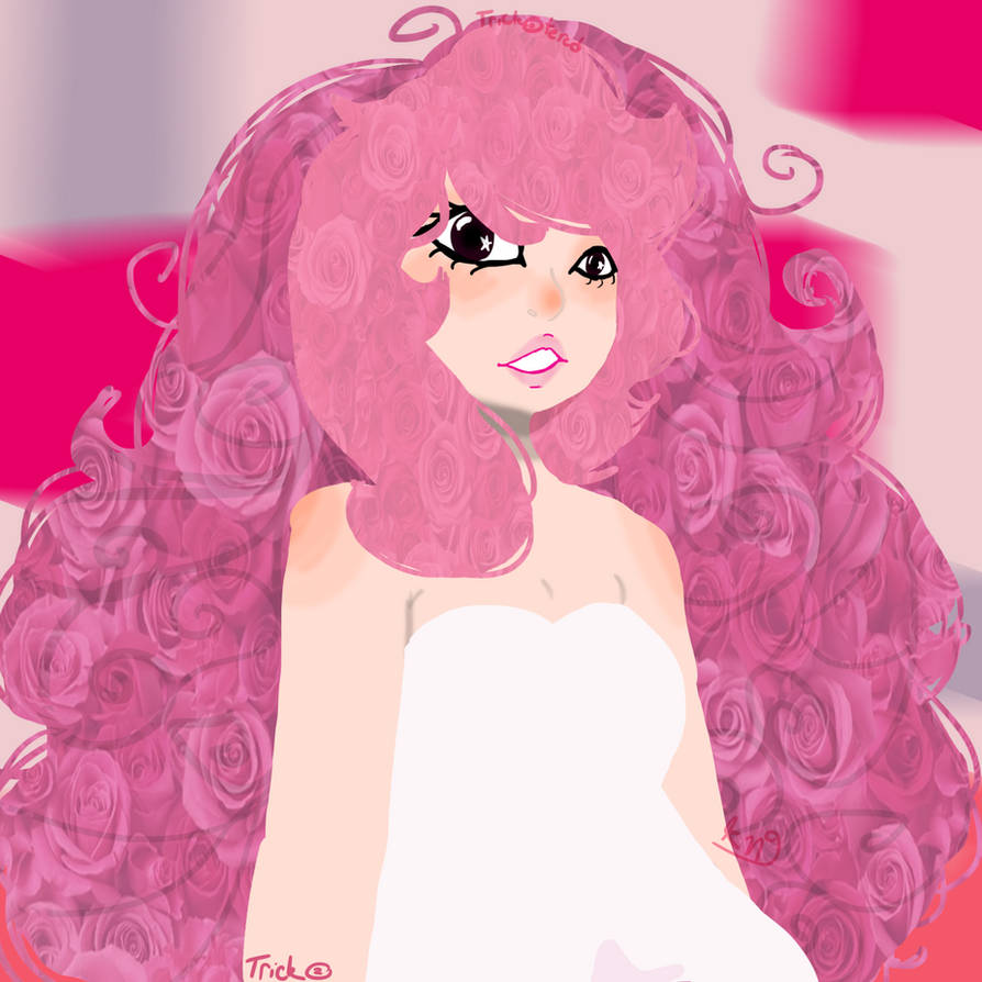 i cant draw her beautiful curls so i covered my attempts up with rl roses ahah rose quartz is my true one and only queen i love her so much