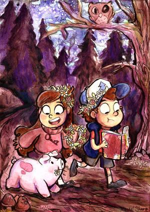 Gravity Falls Watercolor by sharkie19