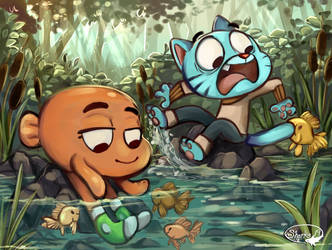 Darwin And Gumball by sharkie19