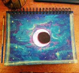 Pink Moon Galaxy Sketchbook Cover  by HollyRoseBriar