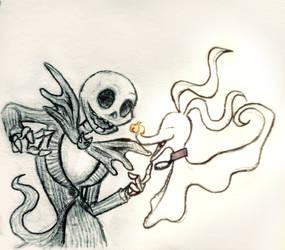 A Skeleton and his Dog  by HollyRoseBriar