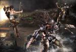 Lara vs Predator by DemonLeon3D