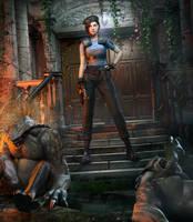 Jill Valentine Vs. Hunters by DemonLeon3D