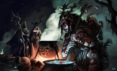 circle of witches by Scebiqu