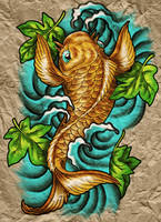 Koi on Parchment by BlvqWulph