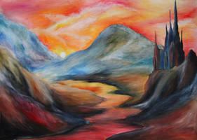 Landscape with a castle by ElizabethHolmes