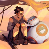 Rey and Bb-8 by Lillkun