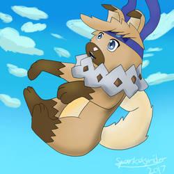 A falling doggo by SparkySkyrider
