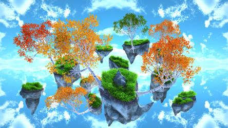 Floating Birch trees by Zatemedek