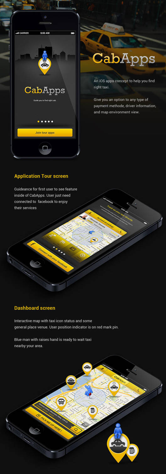 CabApps iOS application concept by azispradana