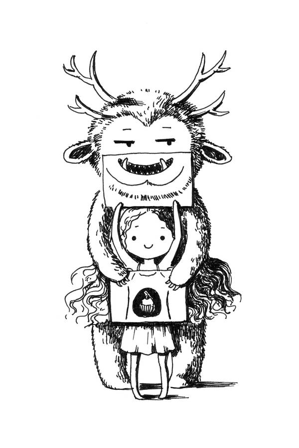 Girl and monster by freeminds